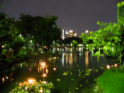 Loi Krathing and Lumphini Park. Photo blurry because of Art, not incompetence (really)