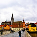 Panoramic view of Old Town Regensburg and Old Stone Bridge