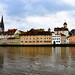 Panoramic view of Regensburg and Old Stone Bridge over the Danube River
