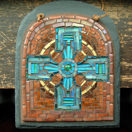 Celtic Cross in Turquoise and Copper by Margaret Almon