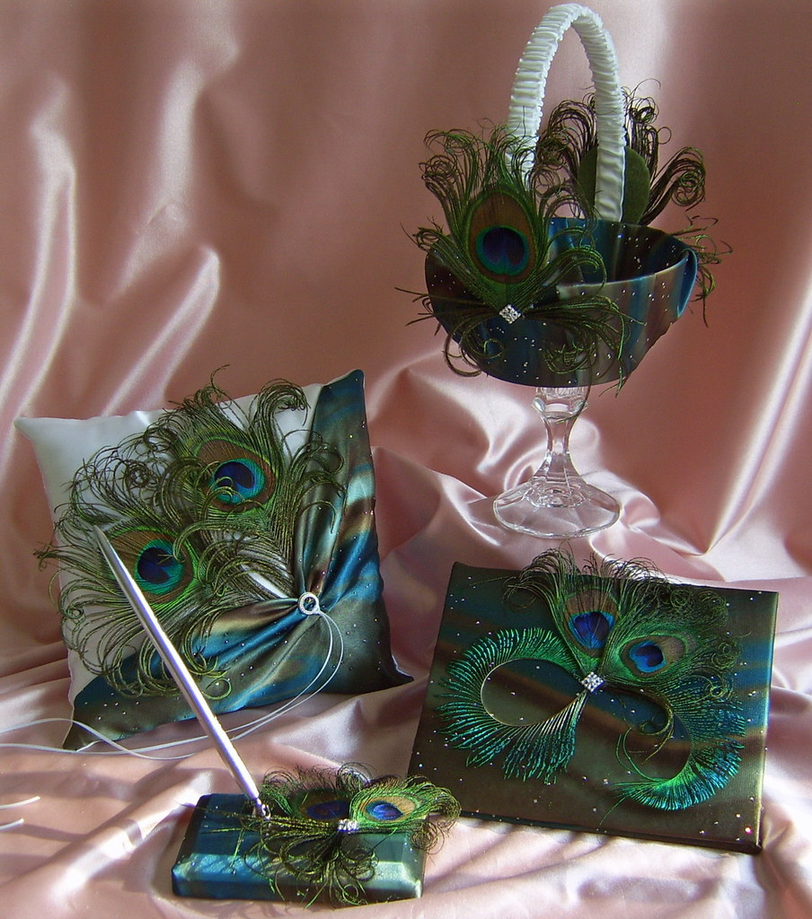 Peacock Wedding Feather Accessory Themed Flower Girl Basket