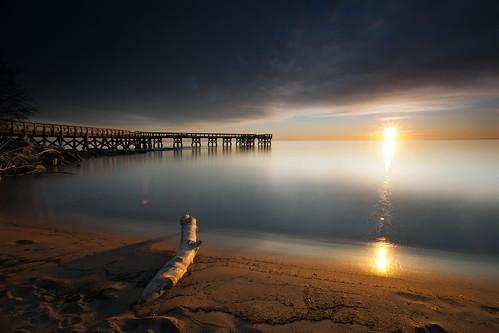 longexposure light sun shells beach sunrise canon dawn pier sand day cloudy maryland driftwood flare pasadena 77 chesapeakebay downspark 5dmkii singhrayrgnd ef1740f40lusm