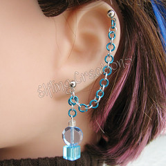 Blue and Silver Cartilage Chain Earring