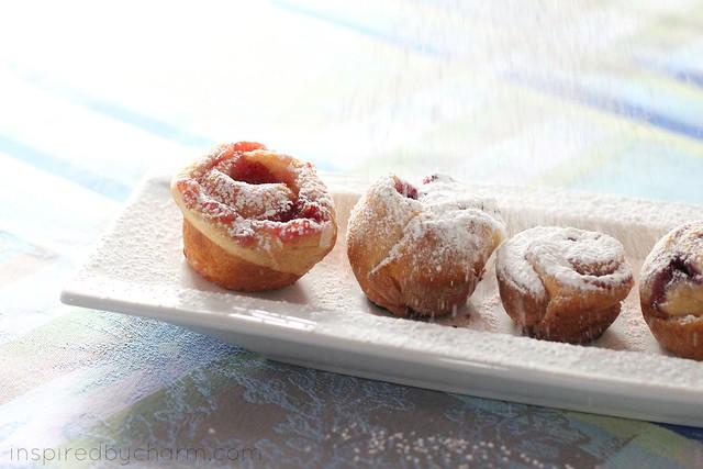 berry danish minis - powdered sugar