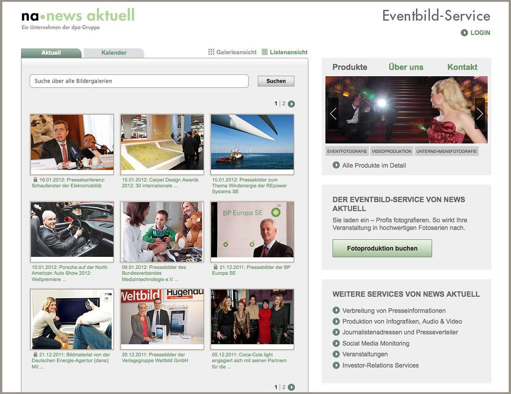 Startseite des neuen Eventbild-Portals von news aktuell