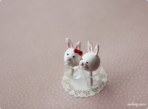 Miniature bunny cake pops.  by AiClay