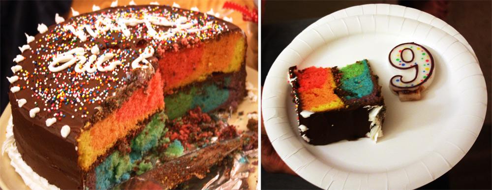 rainbow cake - cut