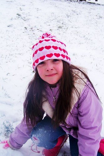Julia playing in the snow.