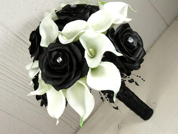 Modern Black Rose and White Calla Wedding Bouquet