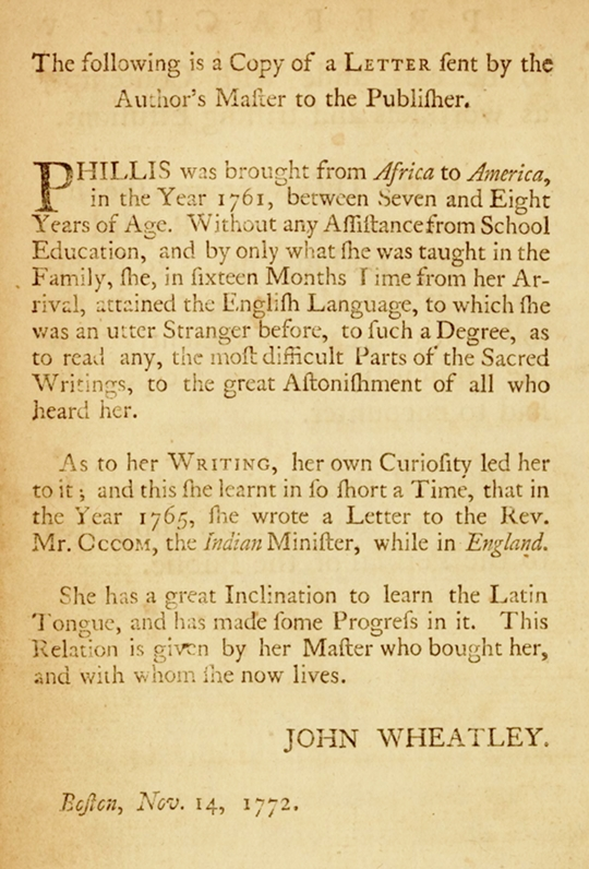 phillis wheatley writing style