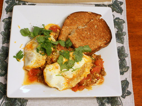 Moroccan Merguez Ragout with Poached Eggs