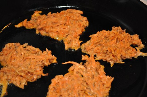 sweet potato friiters in pan