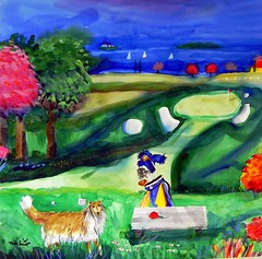 """Toby Finds Another Golf Ball"" watercolor by Mike Smith."