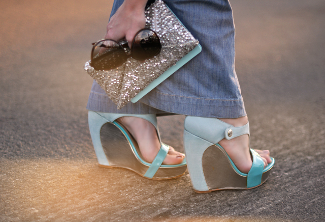 platform wedges- aqua - shoes