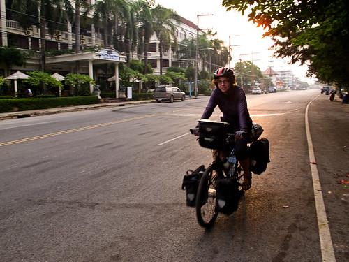 Emma cycling at dawn Laem Mae Phim