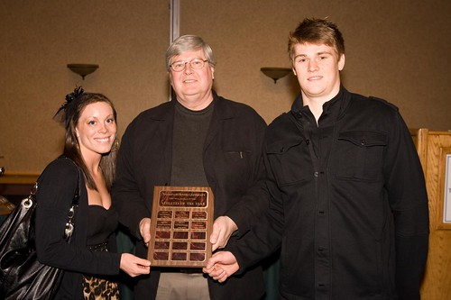 Jessie Lebert and Gord Perrin 2009-10 Athletes of the year with Ken Olynyk