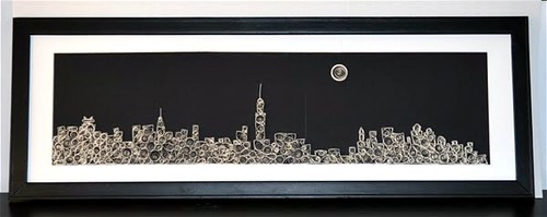 quilled and framed new york city skyline