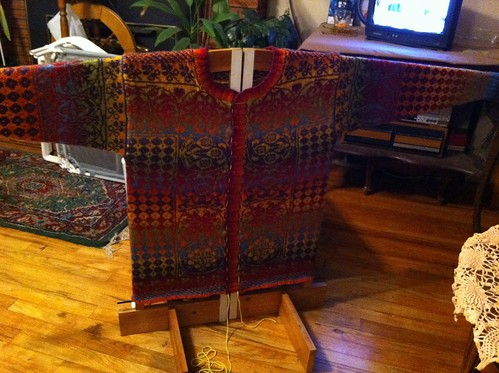 Sirkler cardigan drying on wooly board. by BlueDragon2