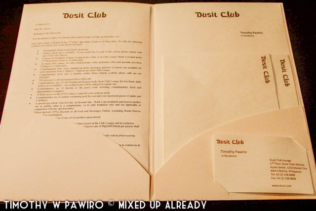 Philippines - Manila - Dusit Thani - Club Executive Suite - Documents and correspondence (web)