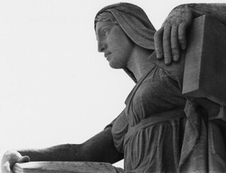 "Photograph of Close up of the Archives Statue ""The Future"", 1970"