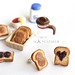 Peanut butter and grape jelly sandwich toasts ear studs handmade jewelry by La Nostalgie