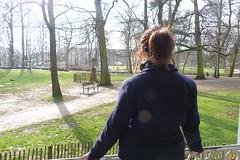 Overlooking her garden