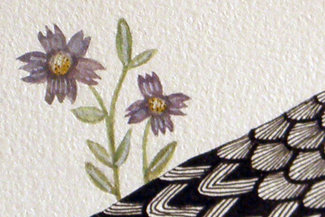 Bird with Purple Flowers