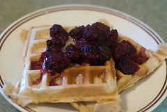 Waffles with warm blackberry compote