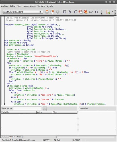Pegando el código de la función - LibreOffice Basic