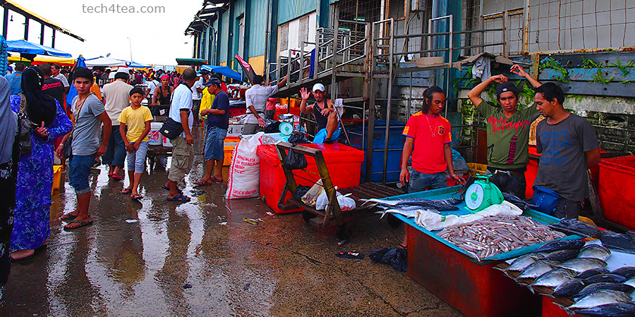 Fish market in KK kicks off at the crack of dawn. Taken with Pop Art effect on a Olympus PEN E-P3 with 12mm lens which captured a wide FOV at the crowded local market.