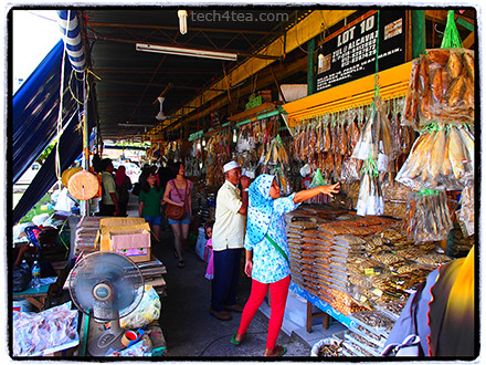 Dried & salted fish market in Kota Kinabalu. Taken with Olympus PEN E-P3 12mm lens using Pop Art effect with Frame filter.