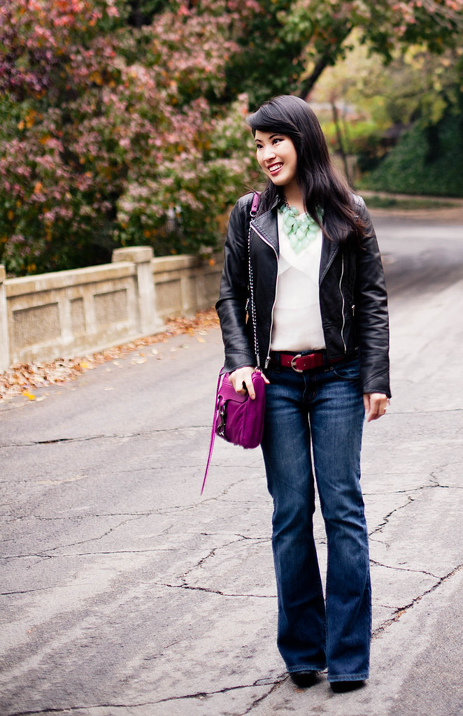 express minus the leather moto jacket, banana republic cream chiffon blouse, the limited mint necklace, victoria's secret hipster london jeans, jessica simpson livia booties, rebecca minkoff magenta mac clutch, express pink belt