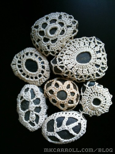 Crochet lace rock doilies
