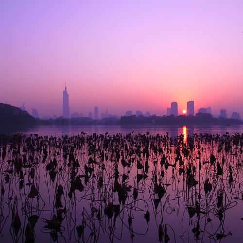 sunset sunlight lake building water landscape