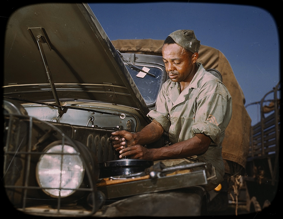 Colored mechanic, motor maintenance section, Ft. Knox, Kentucky - June, 1942