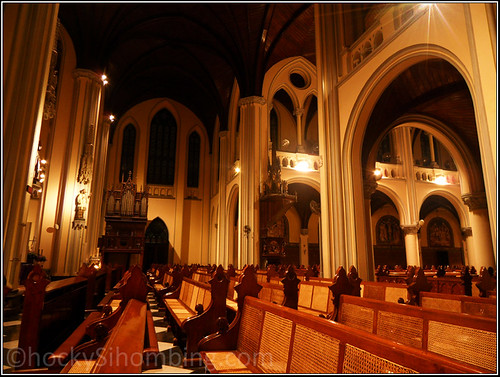 Jakarta Cathedral at night - the seats