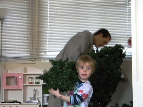 Peter and Kevin assemble the tree