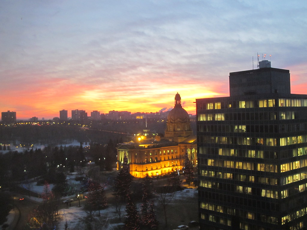 Alberta Legislature Building - Sunset on December 12, 2011