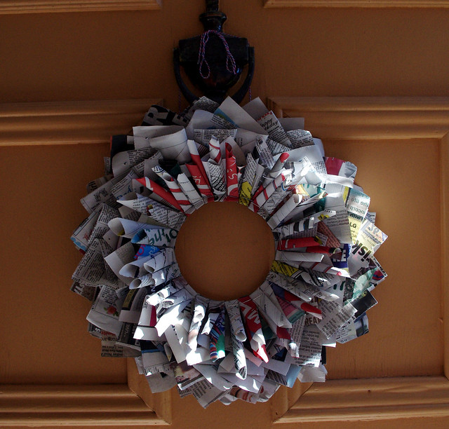 Newspaper Christmas Wreath