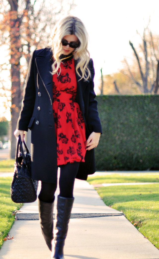 red dress-coat - tights - boots