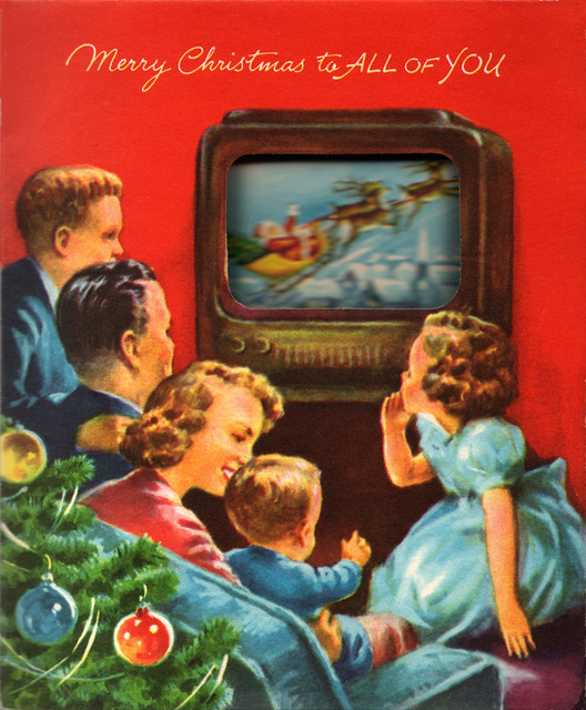 Vintage 1950s Christmas Card - Holiday Broadcast