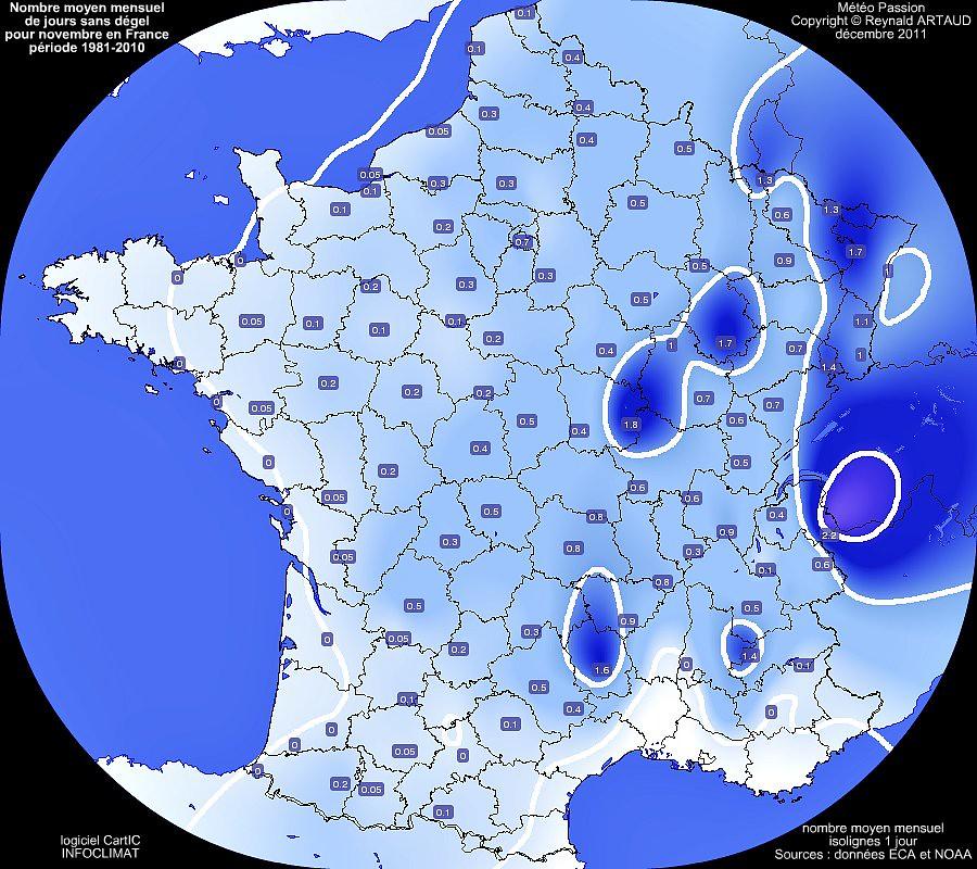 nombre moyen mensuel de jours sans dégel ou avec gel permanent au mois de novembre en France pour la période 1981-2010