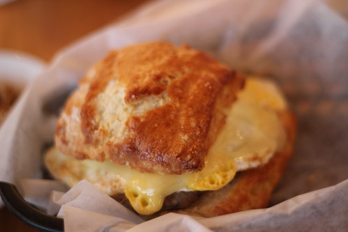 Basic Biscuit Plus sandwich with fried egg, cheddar and sausage