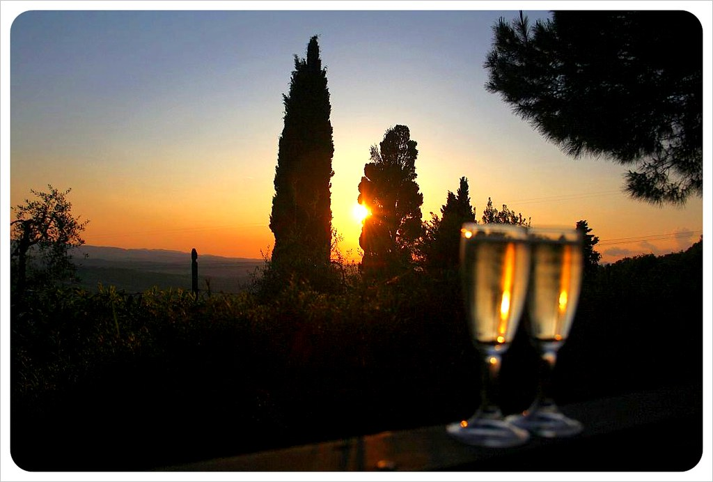 iano sunset with champagne