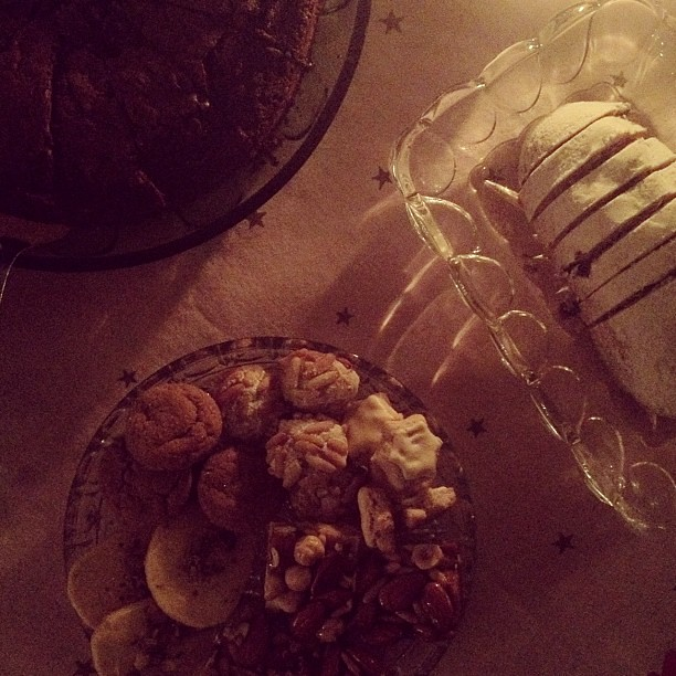 Cookie platter, Christmas cake, coffee.
