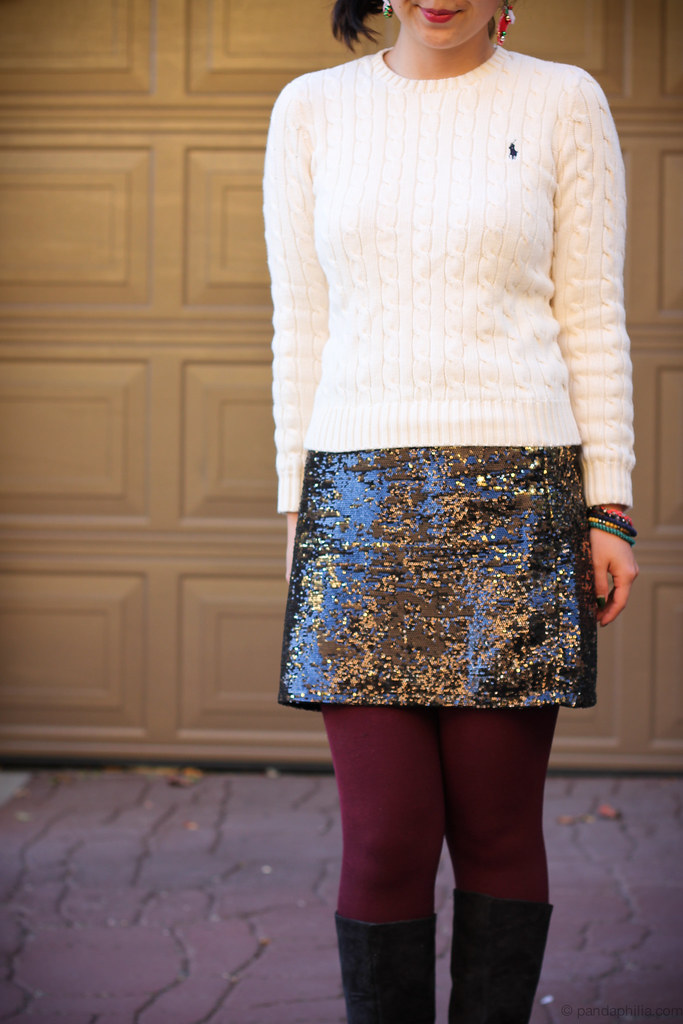 cable knit, sequin skirt