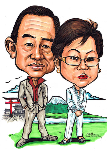 Couple caricatures @ Mount Fuji