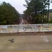 Grafitti on the bridge over the tracks