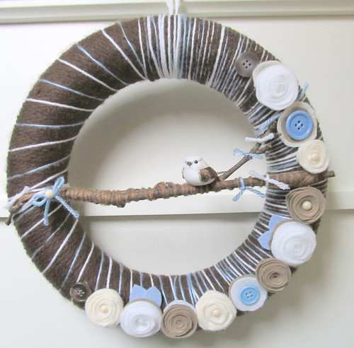 Yarn Wreath Blues and Browns