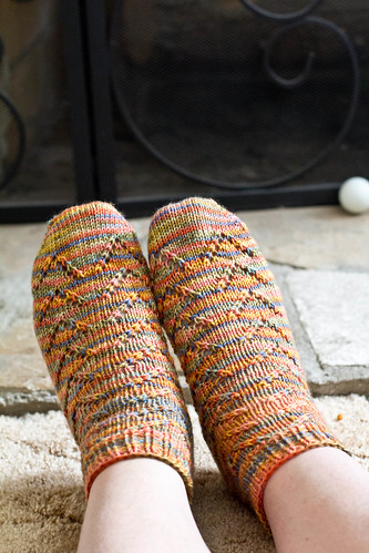 Van Dyke socks by the fireplace